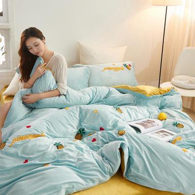 2019新款水晶绒毛巾绣菠萝款四件套 1.5m(5英尺)床单款 淡绿