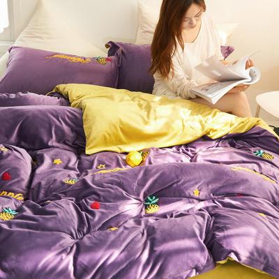 2019新款水晶绒毛巾绣菠萝款四件套 1.8m(6英尺)床单款 紫