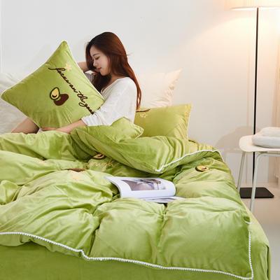 2019新款水晶绒毛巾绣牛油果款四件套 1.5m(5英尺)床单款 草绿