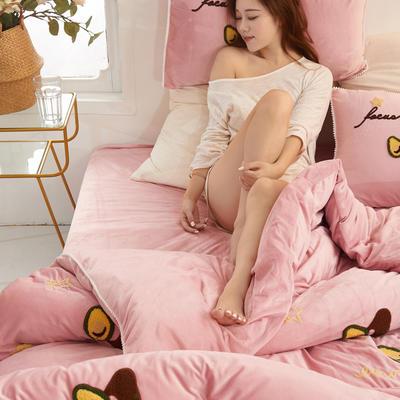 2019新款水晶绒毛巾绣牛油果款四件套 1.8m(6英尺)床单款 珊瑚粉