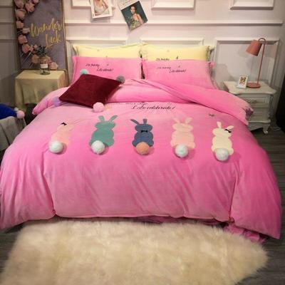 2019新款萌宠兔兔宝宝绒四件套 1.5m(5英尺)床单款 粉色