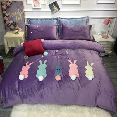 2019新款萌宠兔兔宝宝绒四件套 1.8m(6英尺)床单款 紫