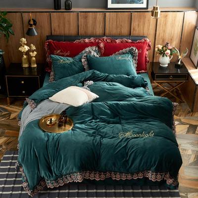 2020新水晶绒潘美多拉系列四件套 1.5m(5英尺)床单款 宝石绿