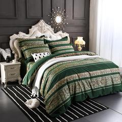 星期三家纺  新款磨毛四件套 1.5m(5英尺)床 欧曼风韵-绿