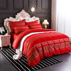 星期三家纺  新款磨毛四件套 1.5m(5英尺)床 欧曼风韵-红