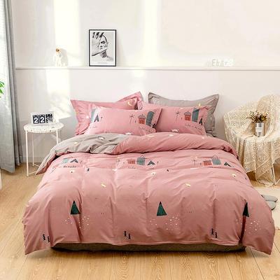 全棉 舒适 13372四件套(四个规格) 220*240 温暖家园-粉