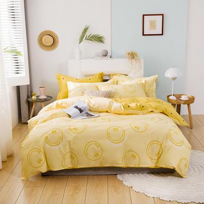 2020新款全棉活性四件套 1.8m床单款四件套 开心乐园-黄