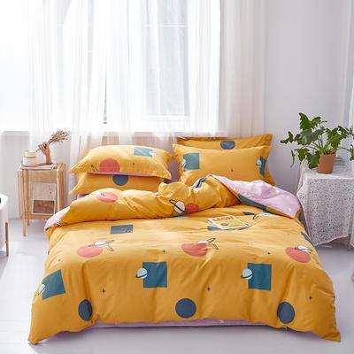 2020春季新款全棉活性四件套 1.8m床单款四件套 甜蜜星球-黄