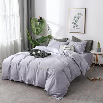 简约棉麻四件套个性刺绣素色床单款 四件套(被套+床单+枕套) 乘风