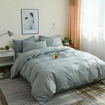 简约棉麻四件套个性刺绣素色床单款 四件套(被套+床单+枕套) 破浪