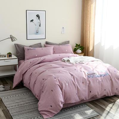 简约棉麻四件套个性刺绣素色床单款 四件套(被套+床单+枕套) 海豚-红