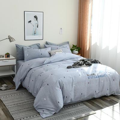 简约棉麻四件套个性刺绣素色床单款 四件套(被套+床单+枕套) 海豚-兰