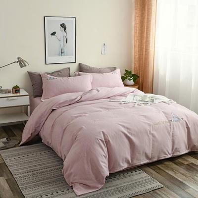 简约棉麻四件套个性刺绣素色床单款 四件套(被套+床单+枕套) 扬帆