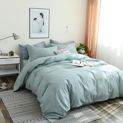 简约棉麻四件套个性刺绣素色床单款 四件套(被套+床单+枕套) 起航