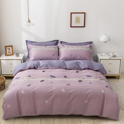 (总)可定制全棉13372四件套 定制款 金色年华-紫