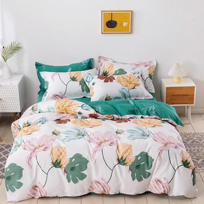 2021新款全棉13372四件套—花卉系列 1.8m床单款四件套 温馨花语