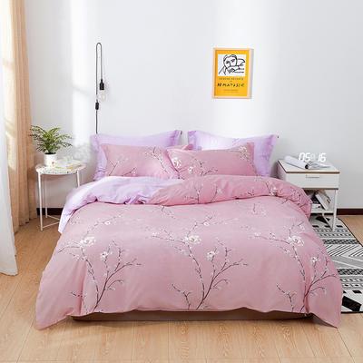 2021新款全棉13372四件套—花卉系列 1.8m床单款四件套 香见-粉