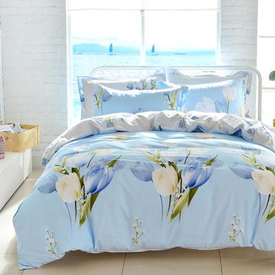 2021新款全棉13372四件套—花卉系列 1.8m床单款四件套 欣雅-兰