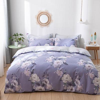 2021新款全棉13372四件套—花卉系列 1.8m床单款四件套 伊莲娜-紫