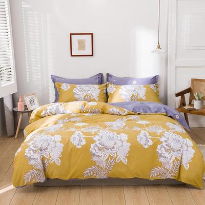 2021新款全棉13372四件套—花卉系列 1.8m床单款四件套 月流光-黄