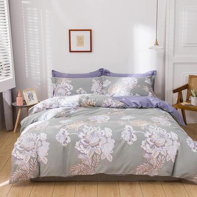 2021新款全棉13372四件套—花卉系列 1.8m床单款四件套 月流光-绿