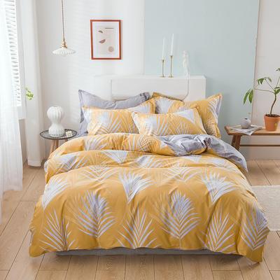 2021新款全棉13372四件套—花卉系列 1.8m床单款四件套 云叶-黄