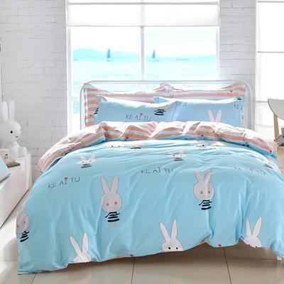 2021新款全棉13372四件套—卡通系列 1.8m床单款四件套 可爱兔