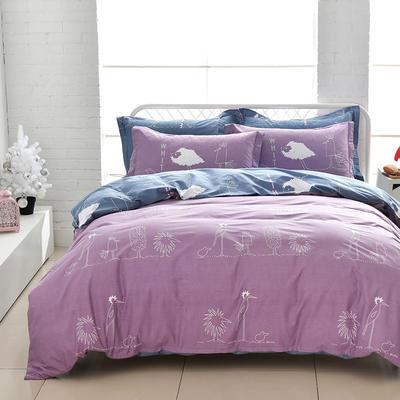 2021新款全棉13372四件套—卡通系列 1.8m床单款四件套 涂鸦日记-紫
