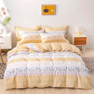 2021年新款全棉13372四件套—时尚格子花系列 1.8m(6英尺)床 拉莎贝尔-黄