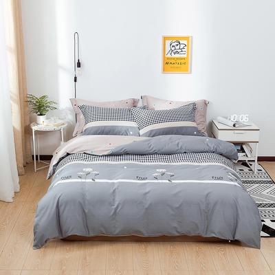 2021年新款全棉13372四件套—时尚格子花系列 1.5m(5英尺)床 密爱-灰