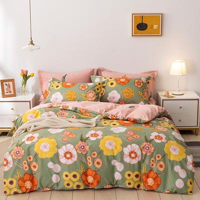 2021年新款全棉13372四件套—时尚个性系列 1.8m(6英尺)床 花野-绿