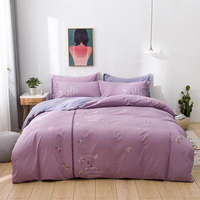 2021年新款全棉13372四件套—时尚蝴蝶系列 1.5m(5英尺)床 阿纳拉-紫