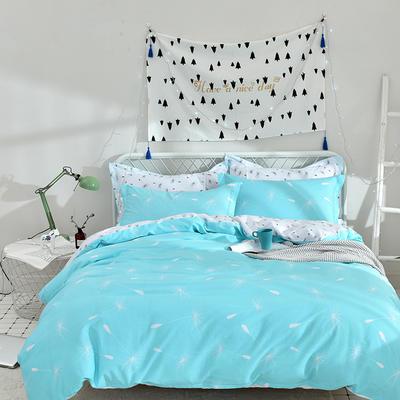 2021年新款全棉13372四件套—时尚蒲公英系列 1.8m(6英尺)床 米洛(蓝)