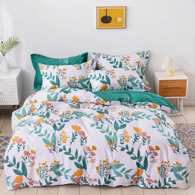 2021年新款全棉13372四件套—时尚清新枝叶系列 1.8m(6英尺)床 绿野轻歌
