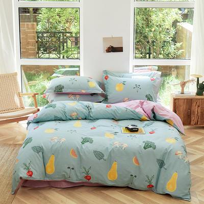 2021年新款全棉13372四件套—时尚水果系列 1.5m(5英尺)床 蔬果乐-绿