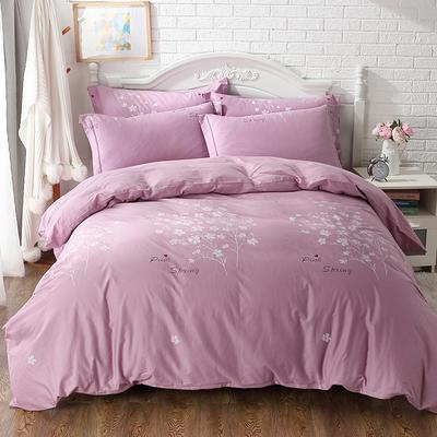 2021年新款全棉13372四件套—时尚小花系列 1.5m(5英尺)床 春风-紫