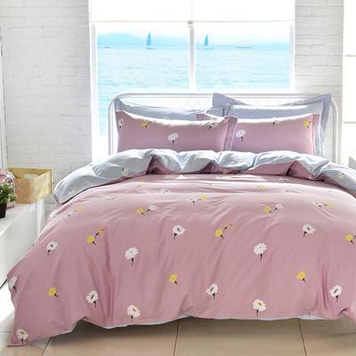 2021年新款全棉13372四件套—时尚小花系列 1.5m(5英尺)床 雏菊花海-紫