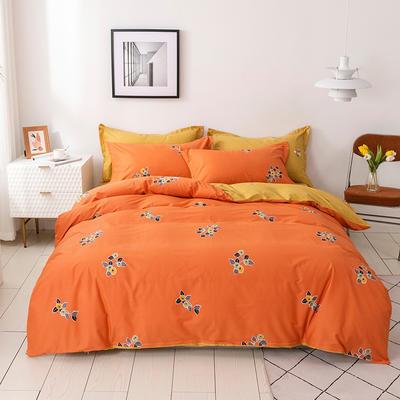 2021年新款全棉13372四件套—时尚小花系列 1.5m(5英尺)床 小果叶-桔