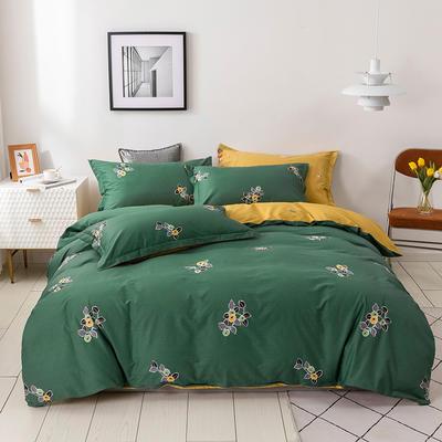 2021年新款全棉13372四件套—时尚小花系列 1.5m(5英尺)床 小果叶-绿