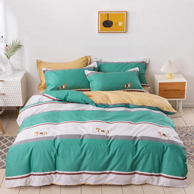 2021年新款全棉13372四件套—横条系列 1.8m(6英尺)床 罗意威-绿