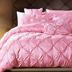 爱妮菲 18新款揪花春夏水洗真丝四件套床单全棉纯棉公主风 四件套 莫妮卡-粉色