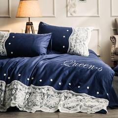 爱妮菲 2018新款加厚全棉磨毛蕾丝床上用品婚庆四件套 1.5m(5英尺)床 黛佩娜—藏蓝色