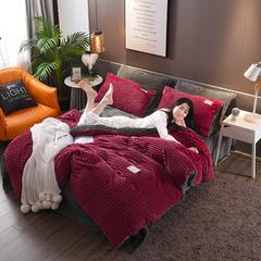 爱妮菲 2018秋冬新款魔法绒条纹水晶绒拼色四件套 1.5m(5英尺)床 典雅红+灰