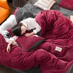 2018秋冬新款魔法绒条纹水晶绒拼色四件套 1.5m(5英尺)床 典雅红+灰