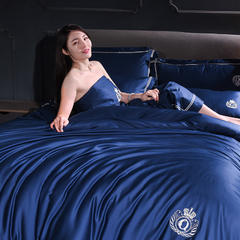 爱妮菲 2019新款60长绒棉刺绣系列四件套酒店风卡布罗 1.5m(5英尺)床单款 卡布罗-藏蓝色