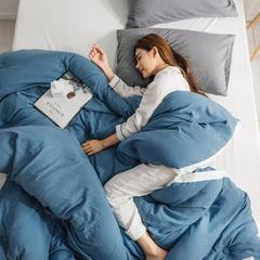 2018新品素色水洗棉系列冬被 150x200cm4.5斤 水洗棉 蓝