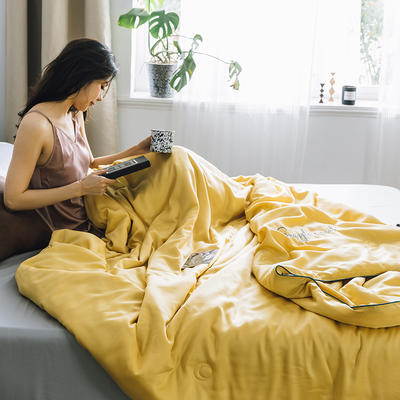 2019新款莫代尔刺绣夏被 150x200cm 嫩黄