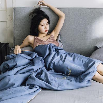 2019新款莫代尔刺绣夏被 150x200cm 月光蓝