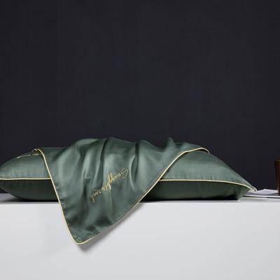 2019新款莫代尔刺绣夏被 200X230cm 枕套 松绿48*74