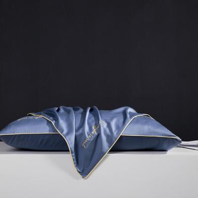 2019新款莫代尔刺绣夏被 200X230cm 枕套 月光蓝